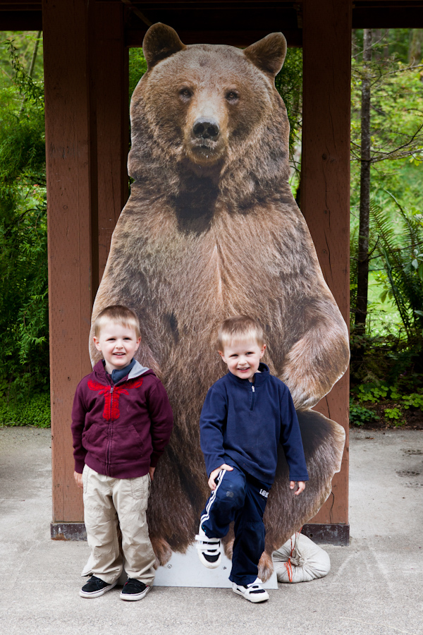 Will and Andrew with a bear at Northwest Trek