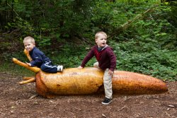 Andrew and Will ride a slug at Northwest Trek 1
