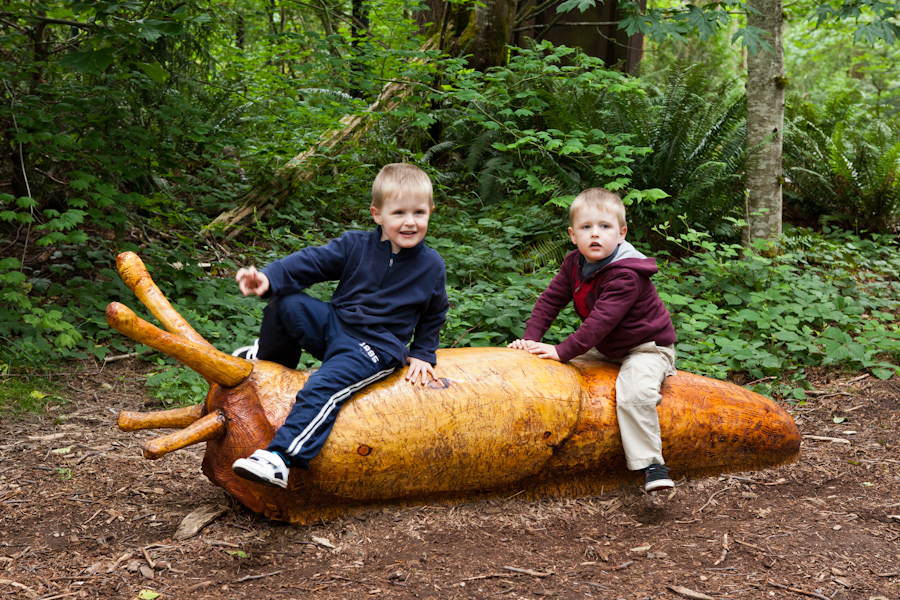 Andrew and Will ride a slug at Northwest Trek 2