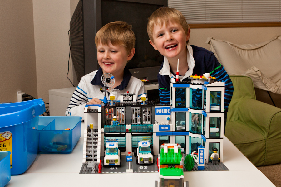 Will and Andrew with the built Lego City Police Station