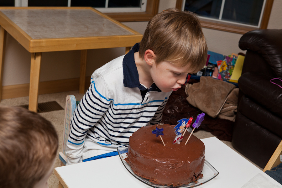 Will blows out his candles
