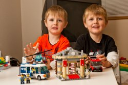 Andrew and Will with their built Lego City Museum Break In set