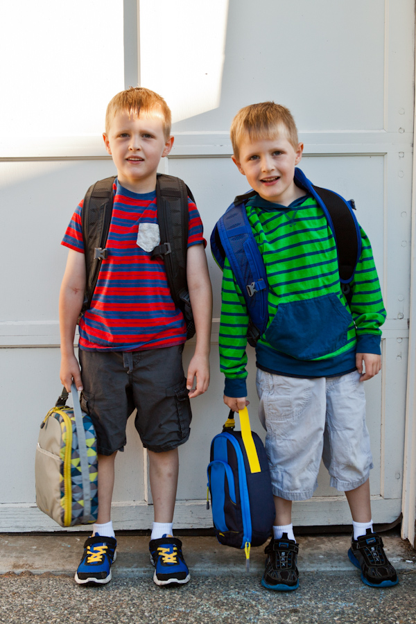 Will and Andrew sporting their new backpacks and lunchboxes