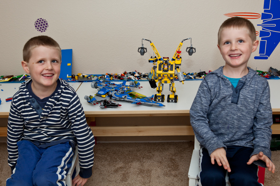 Will and Andrew with their completed Lego sets (PERHAPS with some help from Daddy and Grandpa Allen)