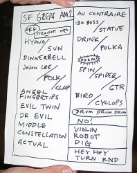 Set list from the second show, April 29, 2003