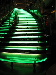 Lit stairs in the center of the ship