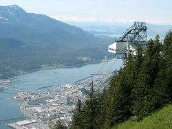 Tram station and Juneau from Mount Roberts