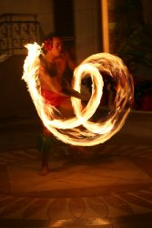 The great fire dancer at the wedding reception