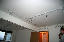 Track lighting in many parts of the house