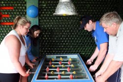 A furious game of foosball