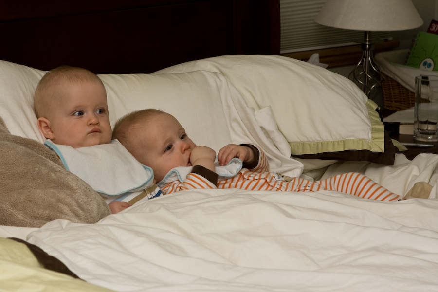 Andy and Will on the bed