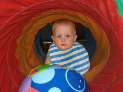Andrew in the tunnel at Gymboree
