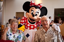 Great-Grandma Joan and Great-Grandpa Jack with Minnie Mouse
