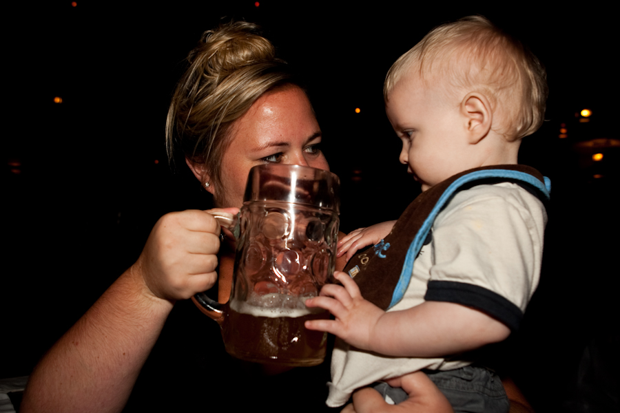 Aunt Jessie and Will getting hammered at the Biergarten