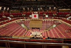 The sumo arena was pretty empty early in the day for the lower matches