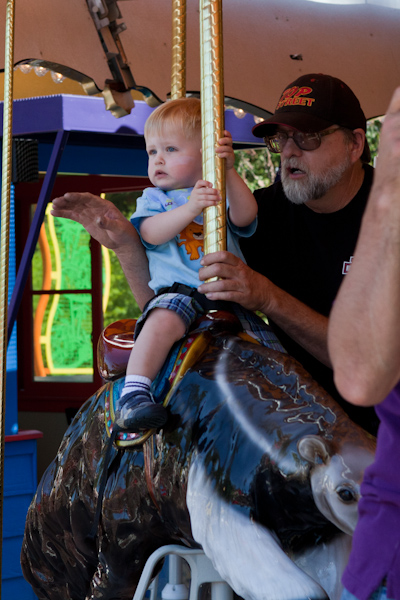 Andy riding the anteater with Grandpa Allen 3