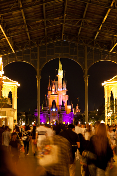 The Tokyo Disneyland castle from the front of the covered World Bazaar/Main Street