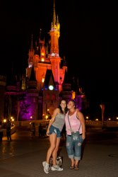 Tori and Jessie in front of the Tokyo Disneyland castle