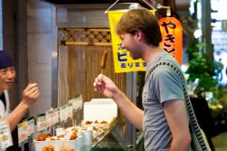 David procuring some fried goodness at the Nishiki Market in Kyoto