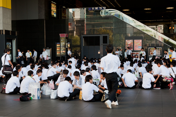 School group outside the Kyoto train station