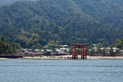 Itsukushima Shrine torii from the boat
