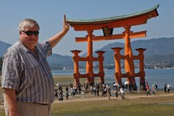 Alan props up the torii