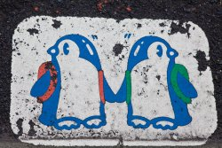 The penguins demand you hold flippers and look both ways before crossing the street