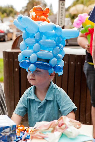 Andrew's birthday balloon hat
