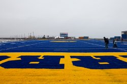 The world's northernmost football field, Cathy Parker Field in Barrow, Alaska, home of the Barrow Whalers high school team