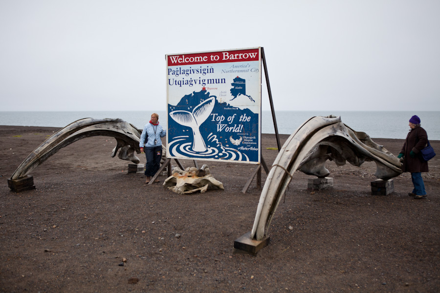"""Welcome to Barrow"" ""Top of the World"" sign with Bowhead whale skulls"