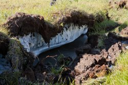 A sinkhole exposes the solid ice permafrost