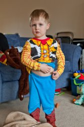 Andrew in his Sheriff Woody pajamas