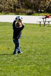 Andrew practicing his throw in