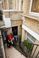 Going into our flat in South Kensington, London
