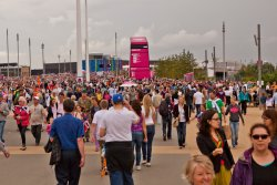 A few people at Olympic Park