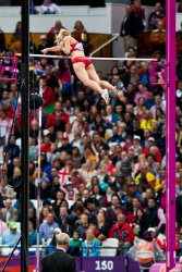 Becky Holliday clears 4.45 meters on her third attempt at the London 2012 Olympics