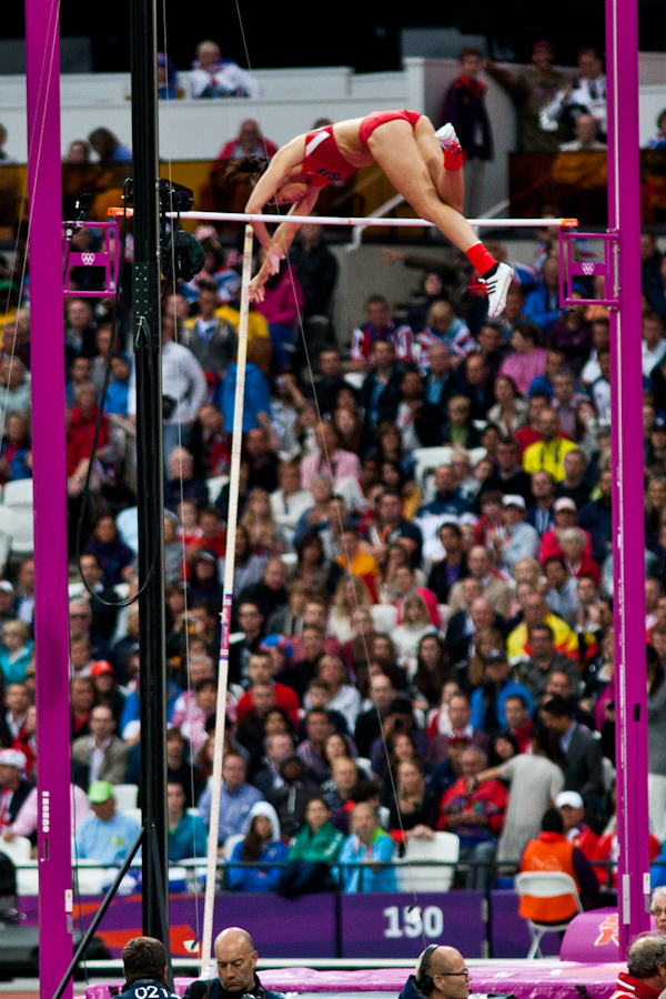 Jennifer Suhr clears 4.55 meters on her first attempt at the London 2012 Olympics