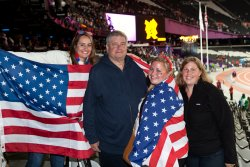 Tori, Alan, Jessie and Bekki in the Olympic Stadium