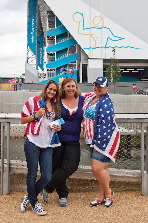 Tori, Bekki and Jessie outside the Water Polo Arena in Olympic Park