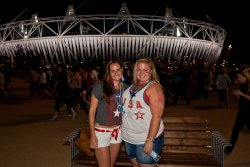 Tori and Jessie in front of the Olympic Stadium (2)
