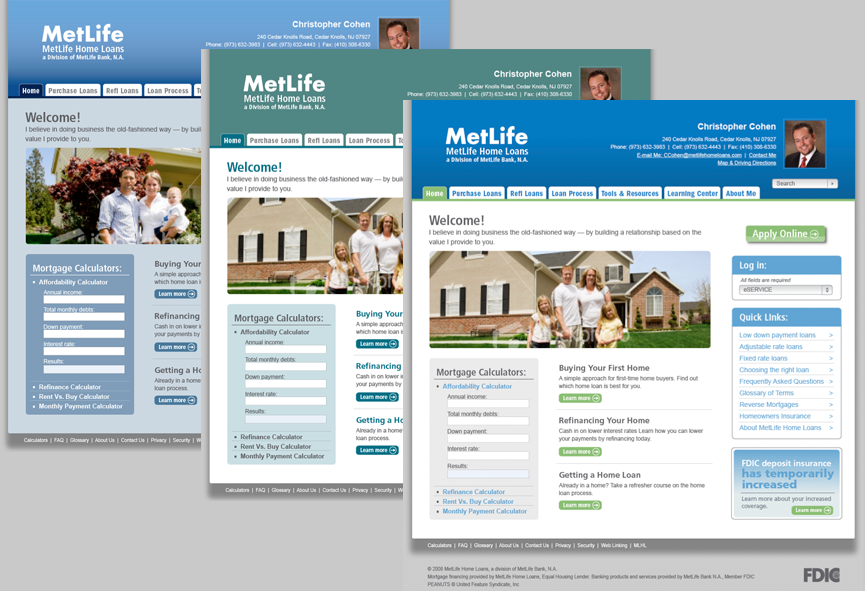 MetLife Loan Officer Website screenshots